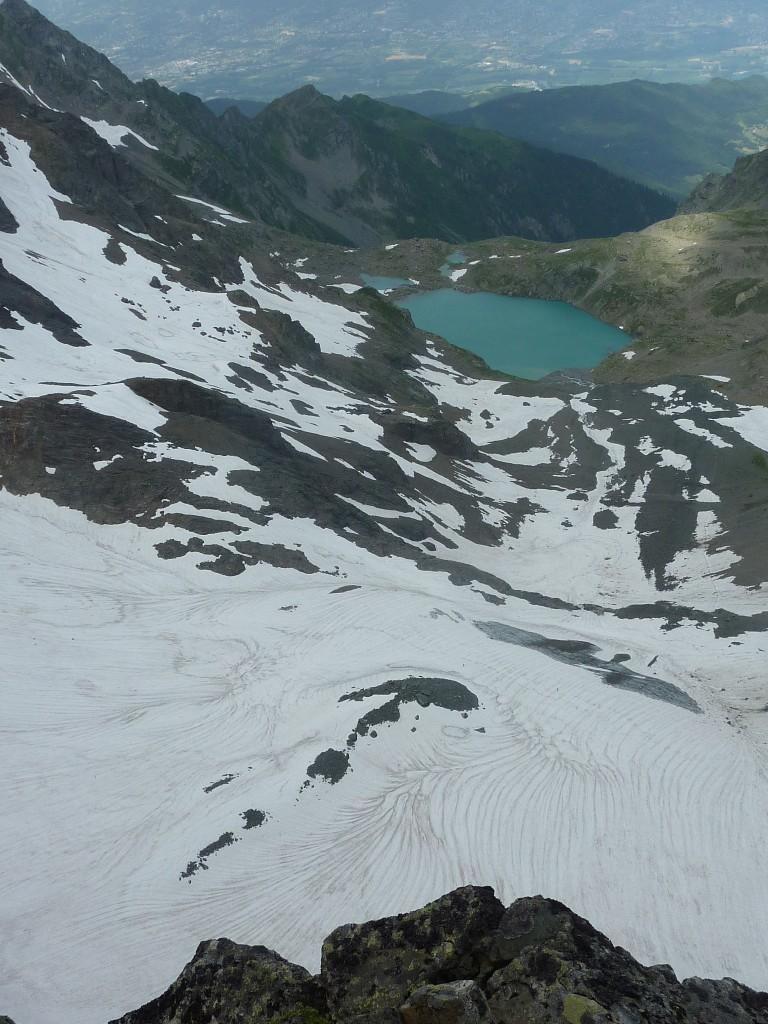 Vue sur la lac Blanc et le glacier de Freydane