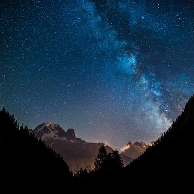 Voie lactée au dessus des Aiguilles de Chamonix