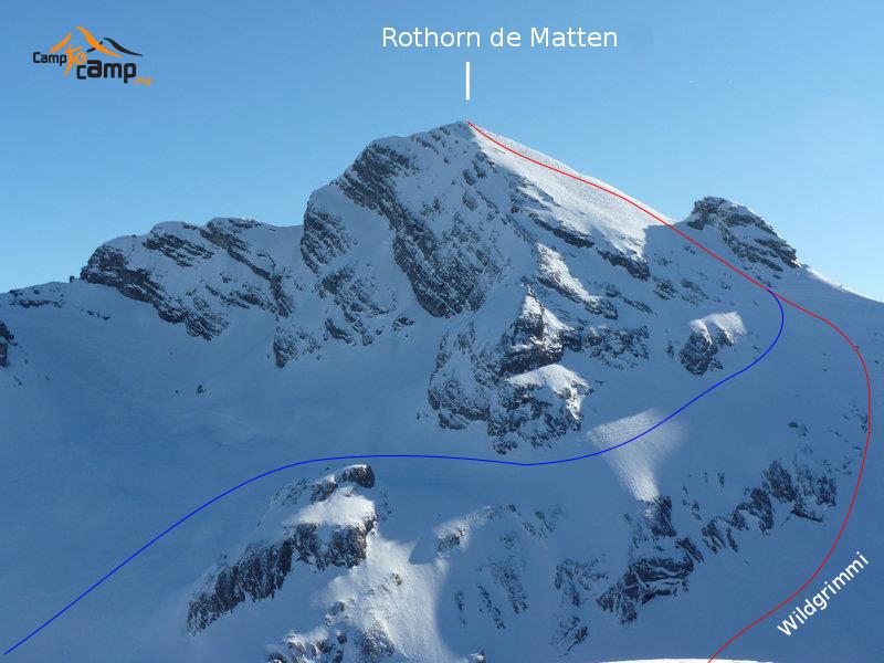 Rothorn de Matten : En bleu la variante de descente