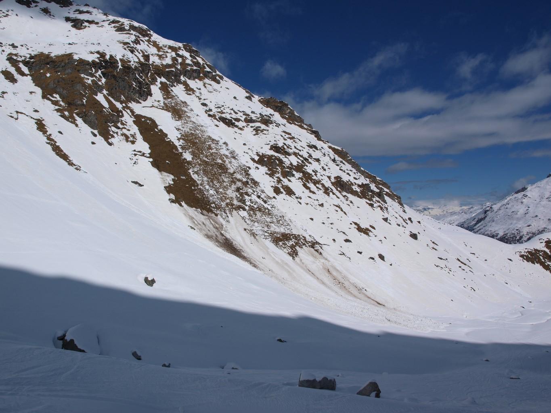 Avalanche dans la combe (photo à la descente)