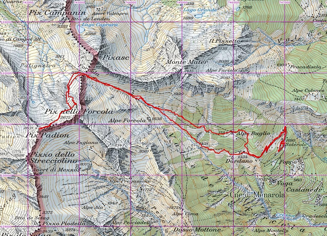 Piz Padion 2631m Valle della Forcola, svil. 8,9km gita del 18-03-2014