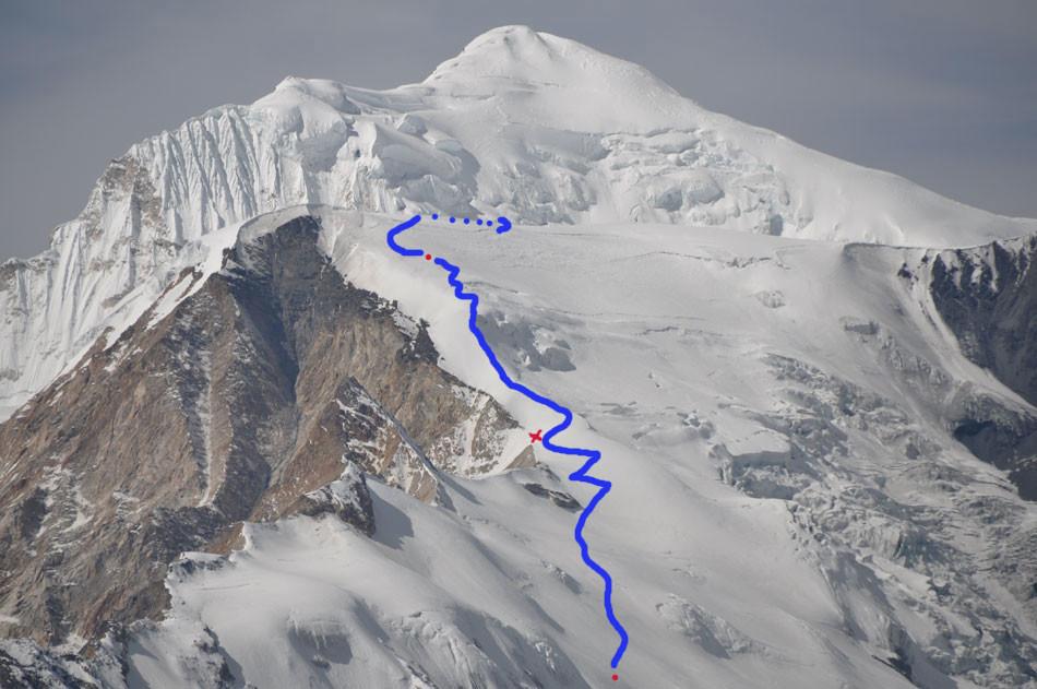 L'itinéraire d'accès au sommet.