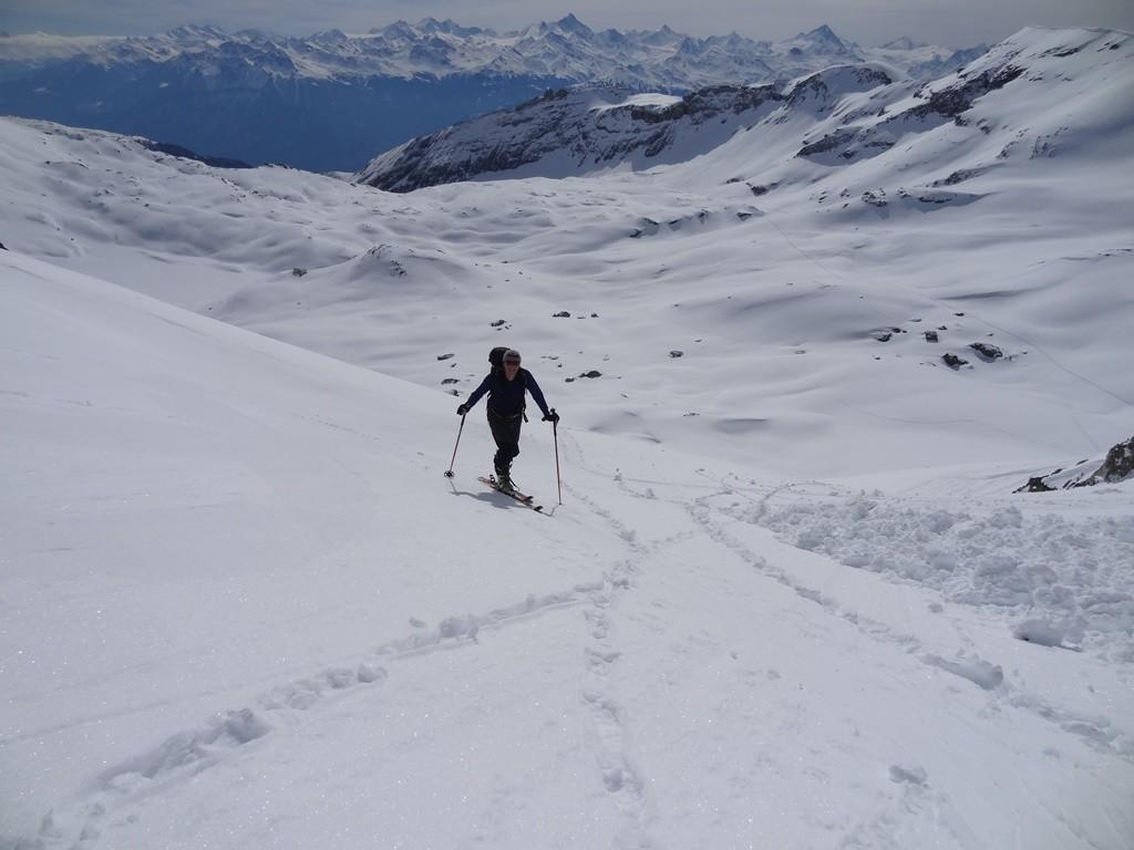 Dernières pentes raides avant le glacier des Audannes