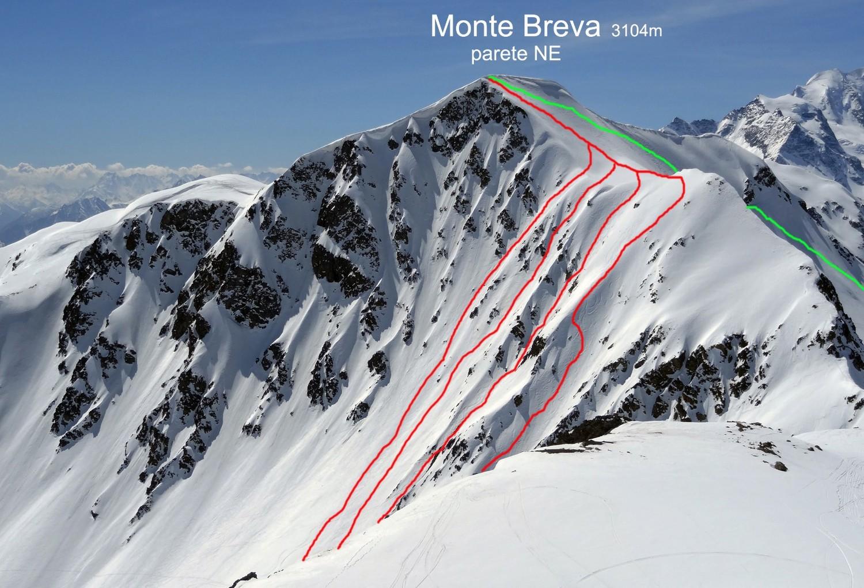 La parete NE del Monte Breva