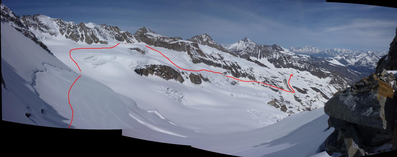 itinéraire sur le glacier de la Tribolazione (du col de Valnontey au bivouac Leonessa)