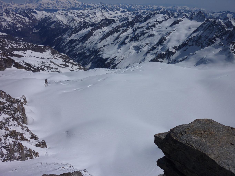 le glacier de la Tribolazione en contrebas, parcouru avant hier