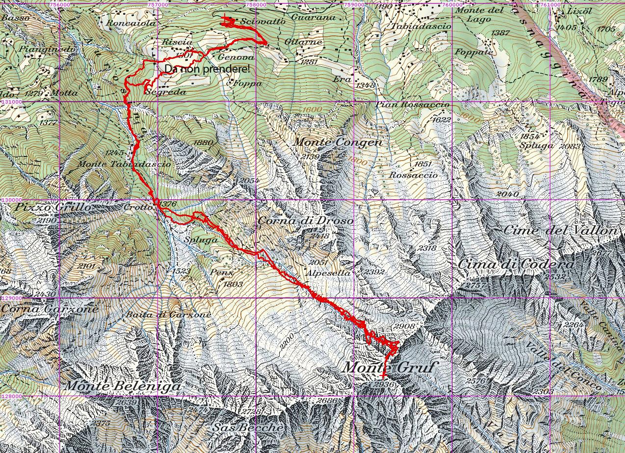Tracciato GPS su CNS 1:50000 Monte Gruf 2936m svil. 10km gita del 13-04-2014