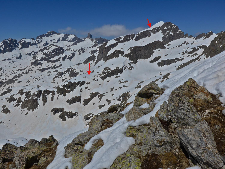 Ma descente et nos trois sommets S de plus de 3000m, vue de Montolivo S.