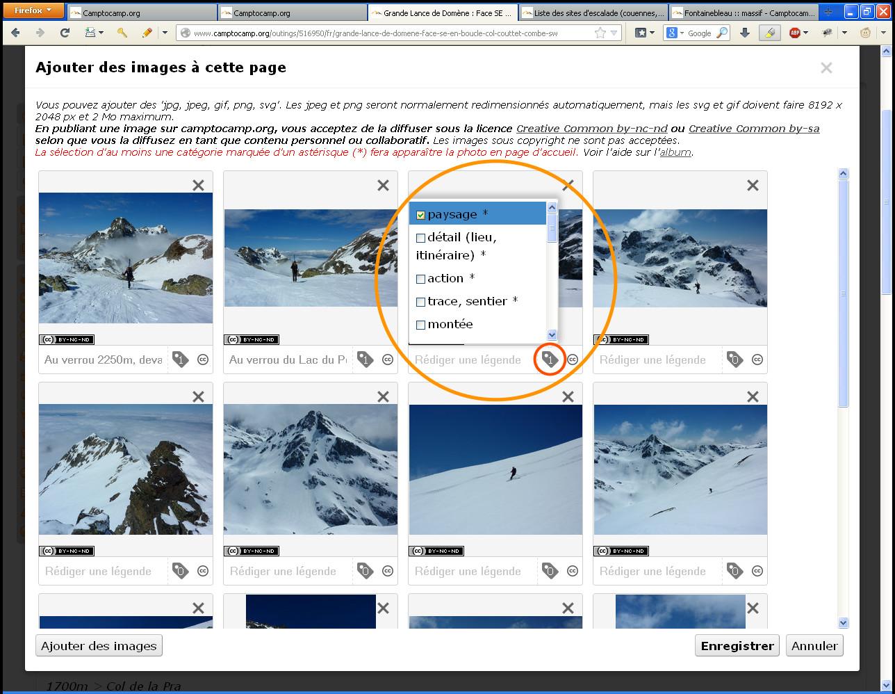 Choix des catégories de l'image lors de l'enregistrement