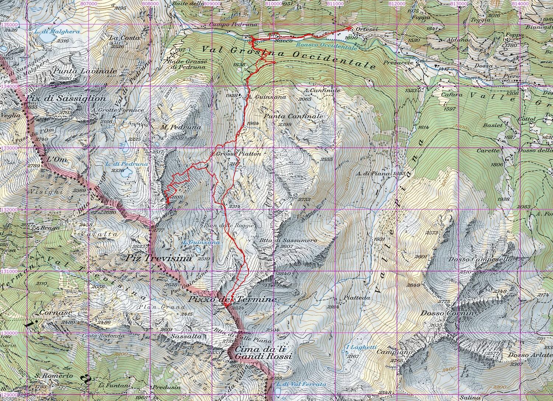 Tracciato GPS su CNS 1:50000 Il Sasso 2818m e Pizzo del Termine 2824m svil. 11km ca Val Grosina, gita del 23-04-2014
