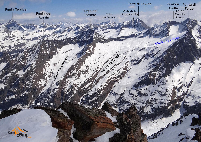 Panorama versant de l'Arolla (Vallon de Valeille)