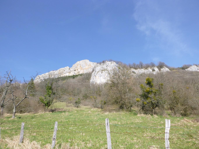 En arrière plan, falaise de hautepierre, avec le Mt Geramin devant.
