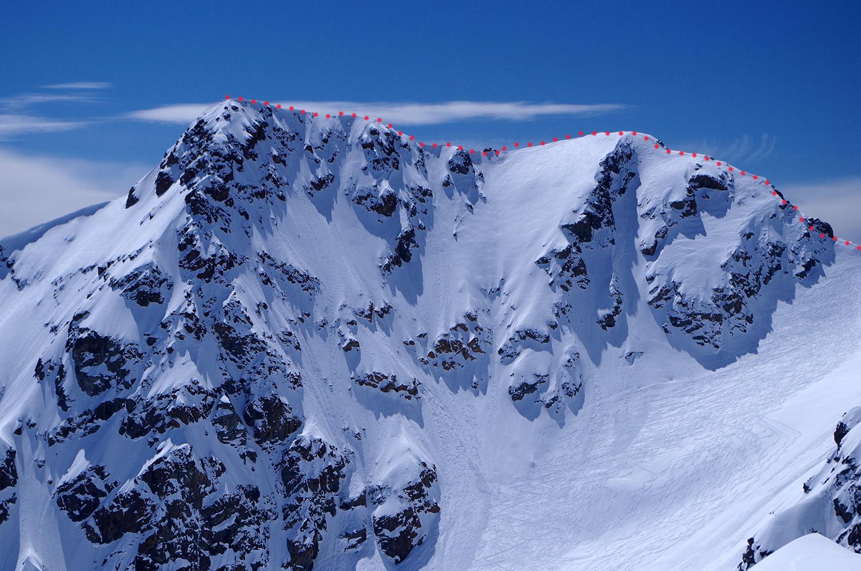 Tracciato alpinistico dal deposito sci alla cima del pizzo Cassandra