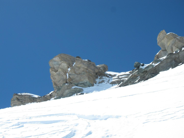 il canalino roccioso prima della punta Basei