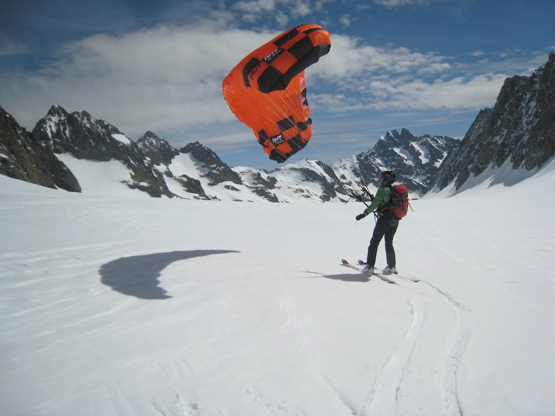 session kite sur le glacier blanc