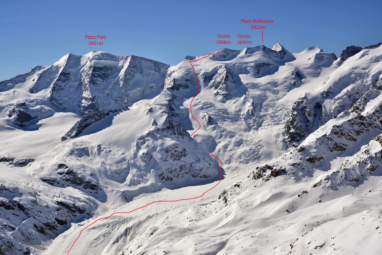 Itinerario al Pizzo Bellavista 3922m dal Ghiacciaio del Morteratsch attraverso la Foura