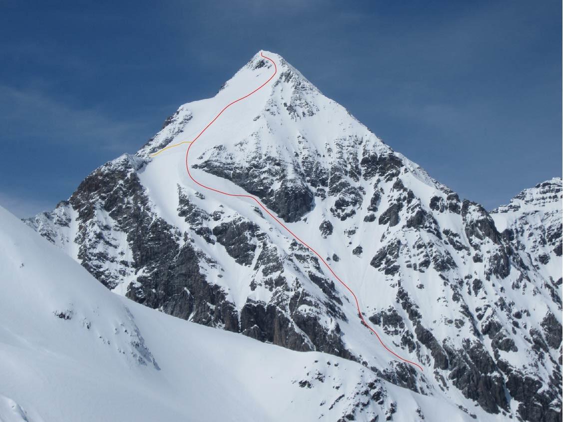 Le haut de l'itinéraire avec en orange la montée depuis Pizzini.