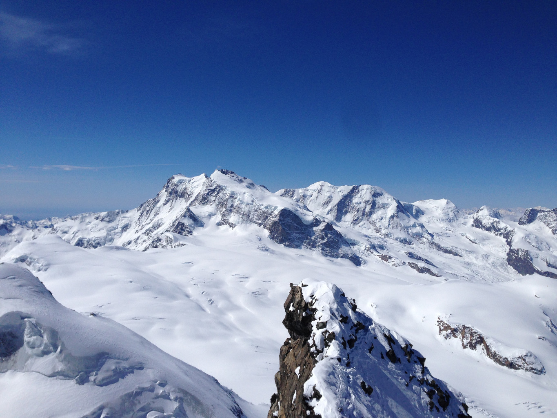 Panoramica del Rosa, Lyskamm, Castore dalla cresta finale
