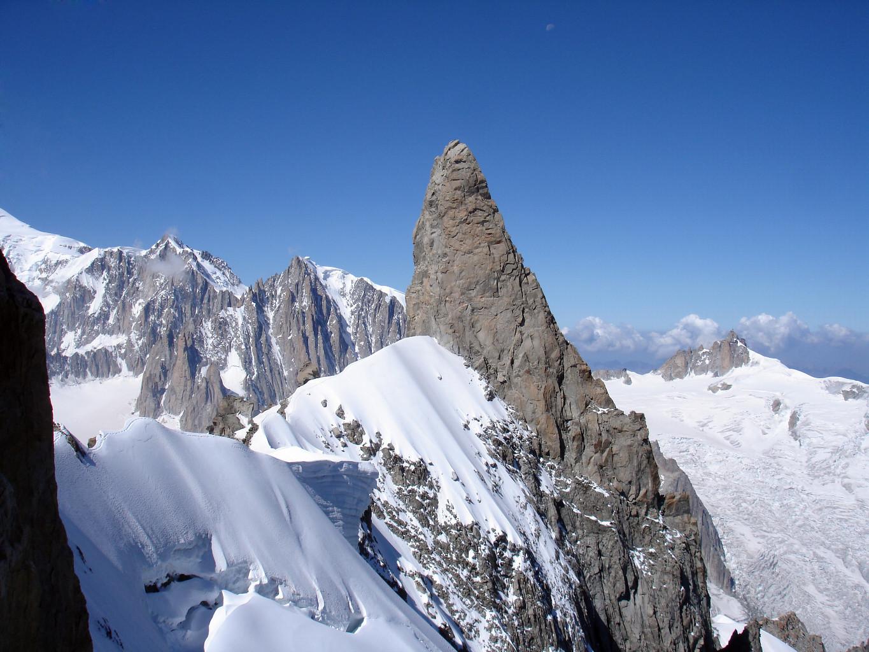 Il Dente del Gigante 4013 m visto prima di attaccare le rocce dell'Aiguille de Rochefort