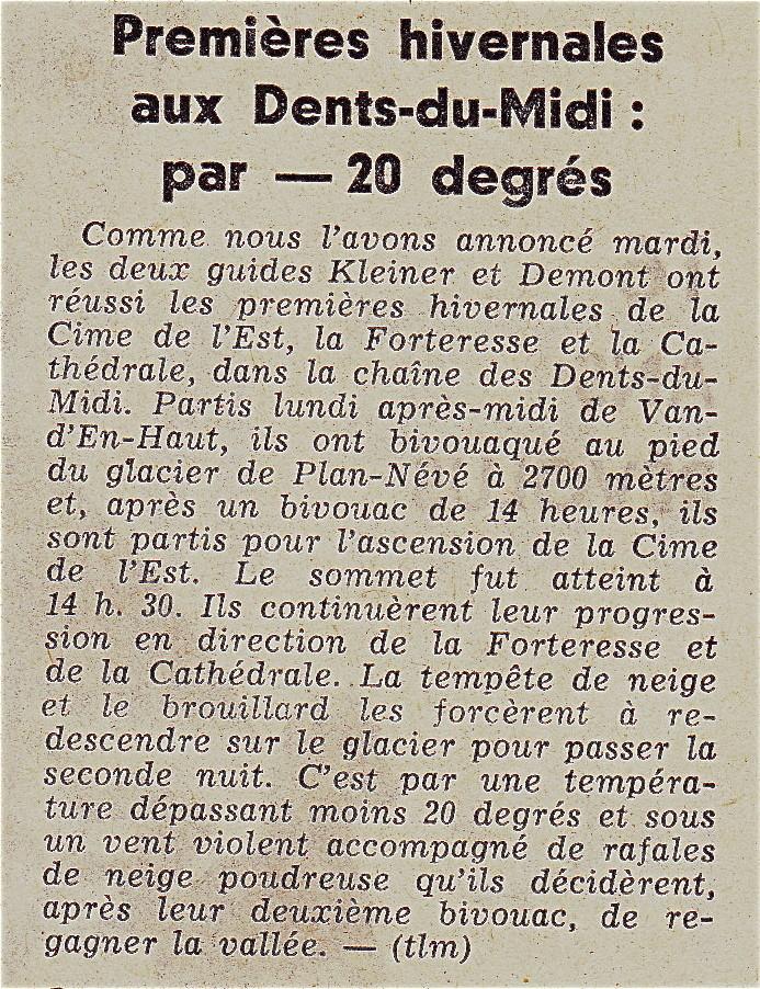 Dents du Midi, 1ères hivernales