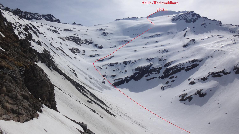nostra traccia salita e discesa in tratteggio il pezzo ghiacciato