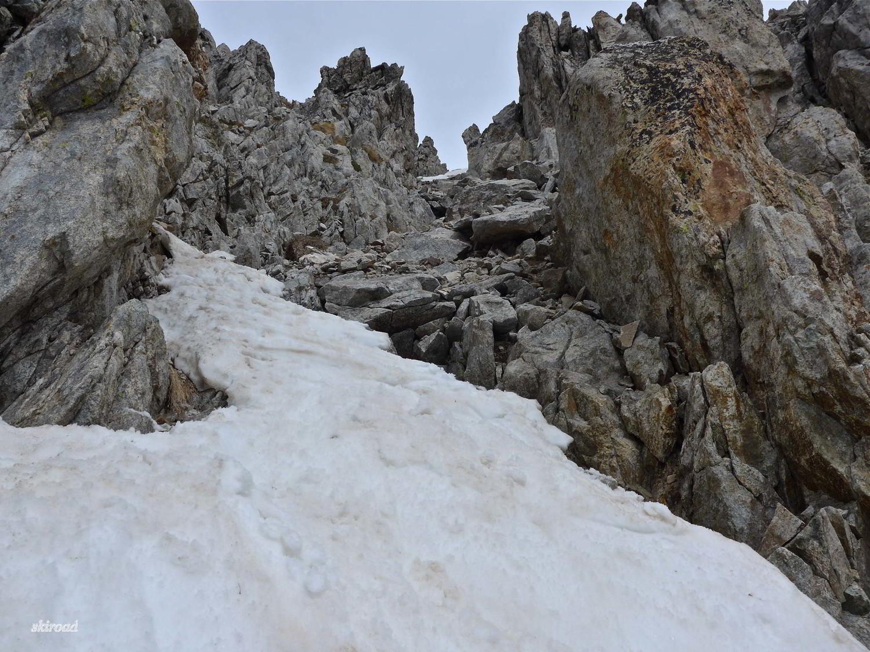 Dur dur la descente, souvent à reculons, avec les skis qui ont tendance à s'accrocher.