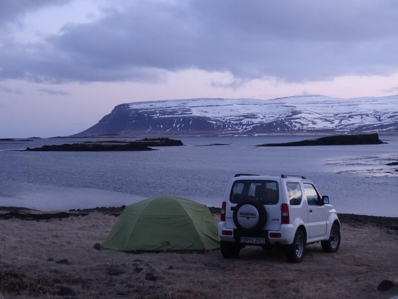 Le camp la veille, Fossarfjall, sud péninsule NW