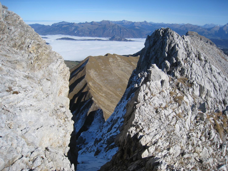 col et arêtes  Balafrasse, vue depuis arête sommitale de la Pte Blanche