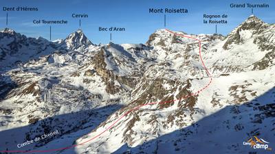 Mont Roisetta itinéraire depuis Cheneil (Période très peu enneigée)