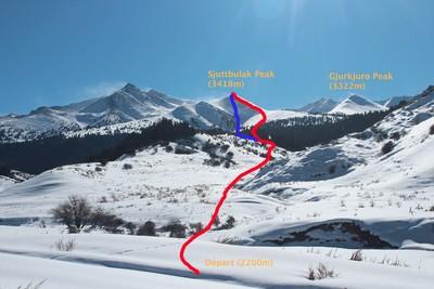 Itinéraire depuis le départ à 2200m.