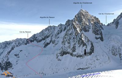 Le col du Passon depuis le glacier dklzzwxh:0003Argentière (les 2 itinéraires pour la montée)