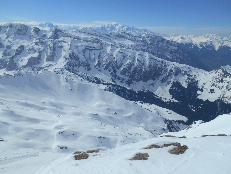 Bossetan et Mont Blanc depuis les Hauts Forts