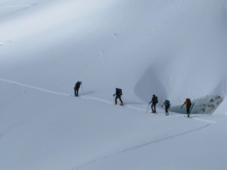prime diagonali sul ghiacciaio