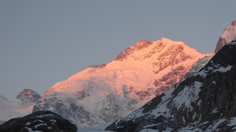 Il Pizzo Bernina all'alba