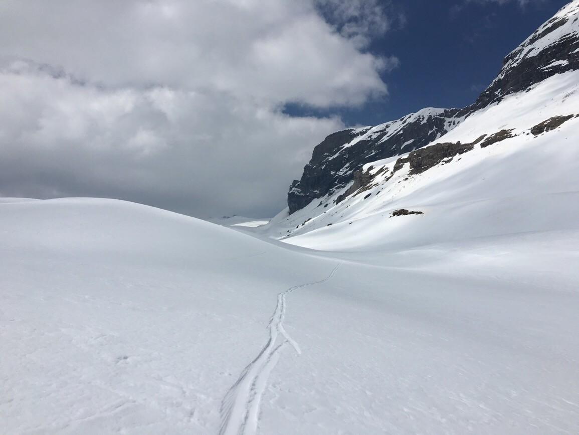 Longuette remontée du vallon en direction de la langue du glacier de Tsanfleuron