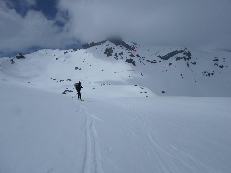 Tracciato del tratto verso i pendii meridionali del Mont Pucel salendo al Wildhorn.