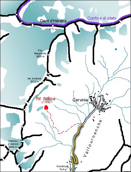 Mappa Rifugio Bobba al Truc Tremetta
