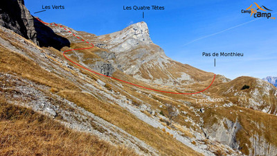 Itinéraire direct entre le Pas de Monthieux et les Verts