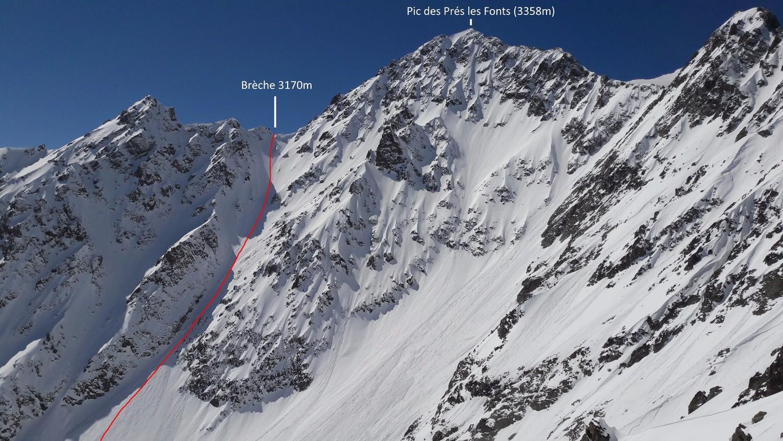 Le couloir NE (dit Chantriaux) de la Brèche 3170m du Pic des Prés les Fonts