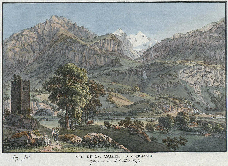 Engelhörner, Wetterhorn vus de la vallée de l'Aar, par G. Lory