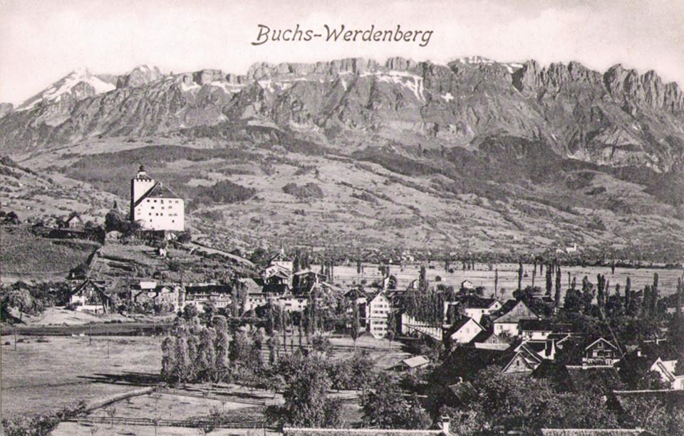 Buchs-Werdenberg, Kreuzbergen im Hintergrund, um 1910