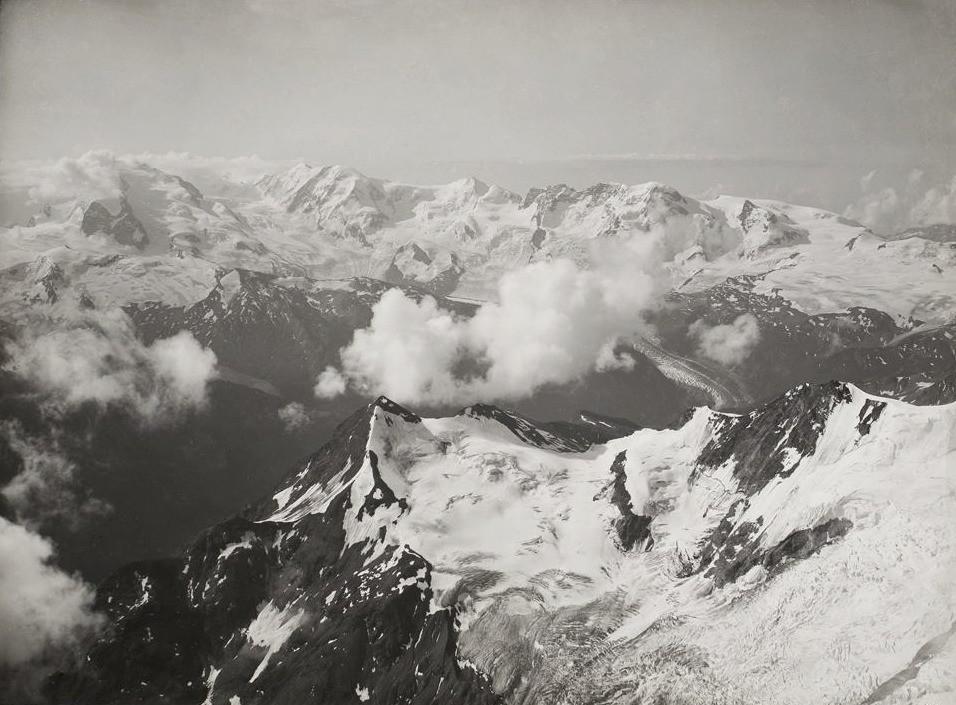 Mont Rose, Lyskamm, Castor et Pollux, Breithorn vus du Weisshorn par Vittorio Sella en 1885