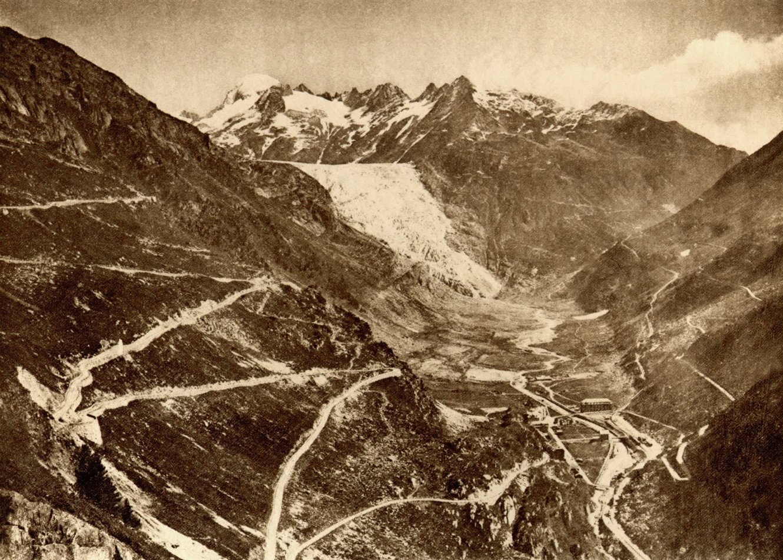 Gletsch - Route du grimsel - Glacier du Rhône par Gaberell, 1929