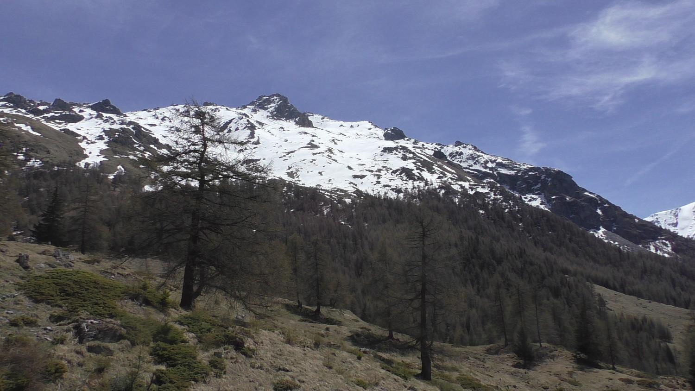 Le sommet est caché par le Mt Rouge (gros rocher sur la crête)