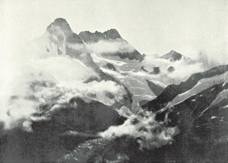 Schreckhorn et Lauteraarhorn par Theodor Wundt en 1898