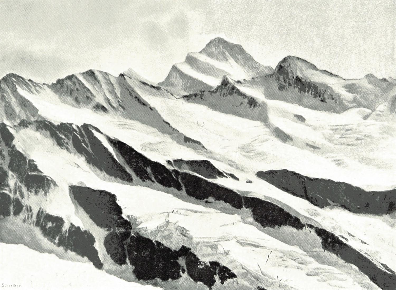 Fiescherhorn, Finsteraarhorn, Grünhorn vus de la Jungfrau par Theodor Wundt en 1898