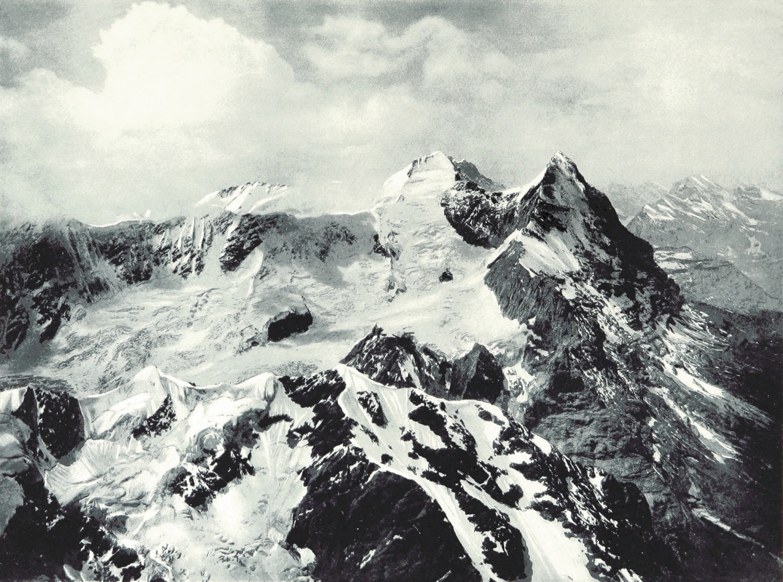 Mönch et Eiger vus du Wetterhorn par Theodor Wundt en 1898