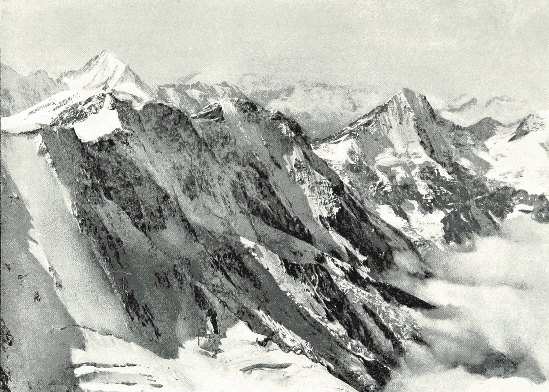 Bietschhorn, Mittaghorn, Grosshorn, Lauterbrunnen Breithorn taken from Jungfrau Wundt 1898