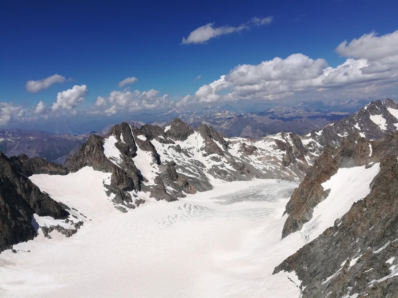 Le glacier Blanc depuis le sommet