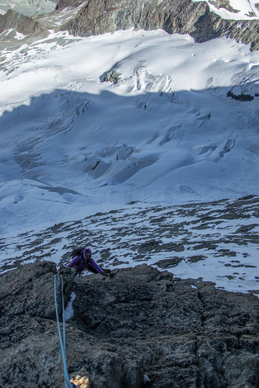 Belle ambiance au dessus du glacier du Mountet